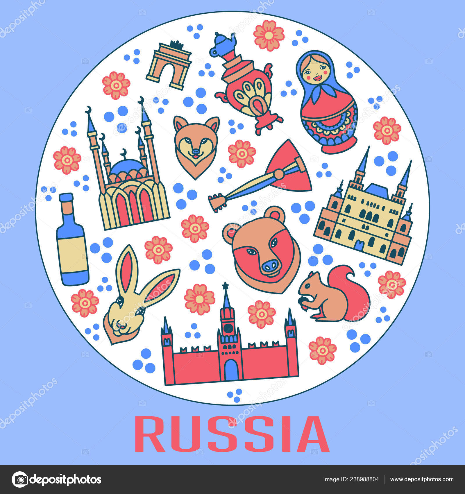 Russia Cartoon Travel Vector Map Russian Symbols Other ... on flat united states map, flat eurasia map, flat great britain map, flat country map, flat europe map, flat us map, flat africa map, flat world maps,