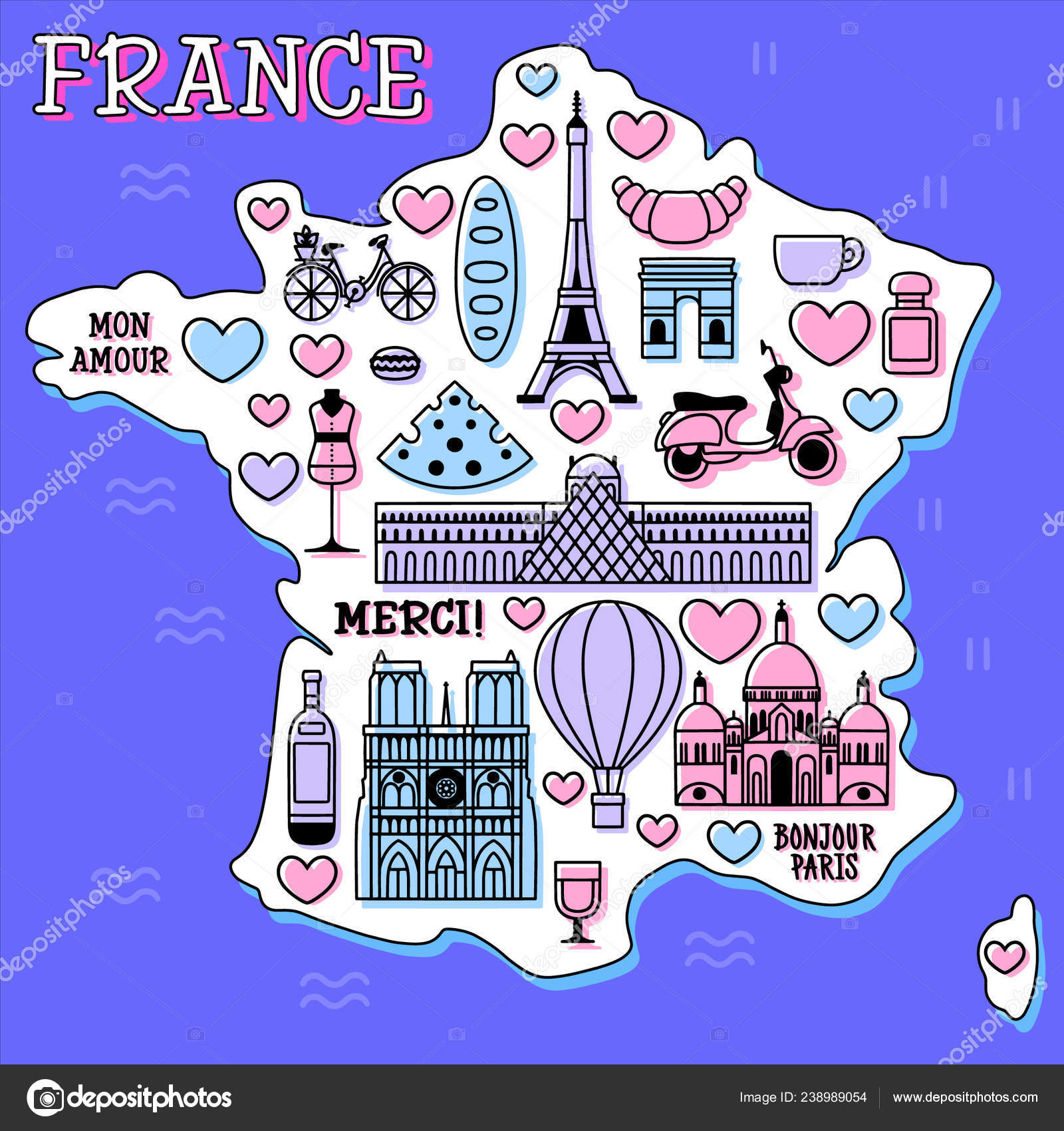 France Cartoon Travel Vector Map French Symbols Other Decorative Poster Stock Vector C Mashmuh 238989054