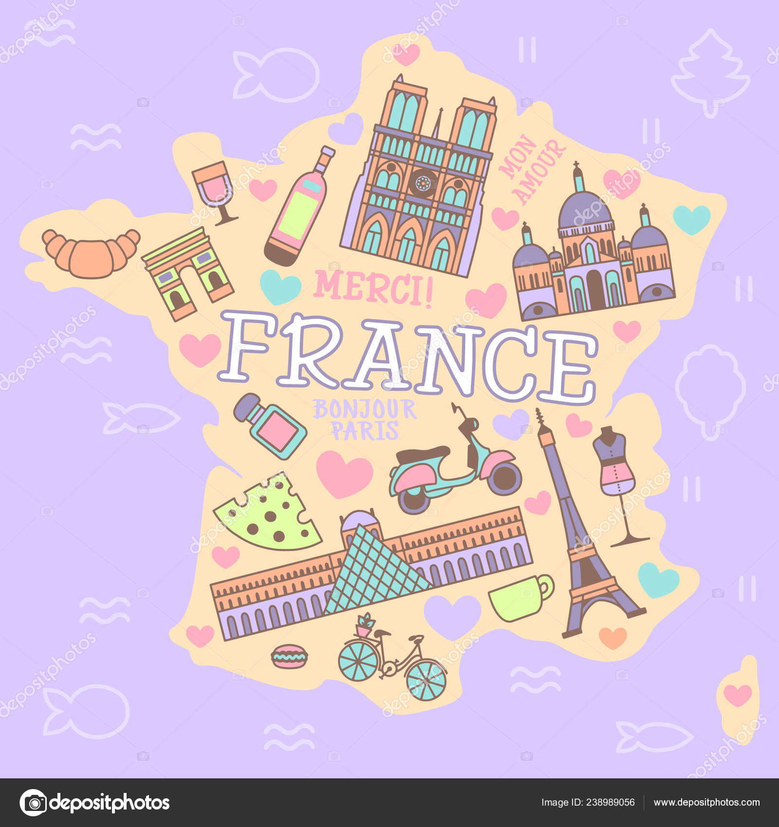 Map Of France Poster.France Cartoon Travel Vector Map French Symbols Other Decorative