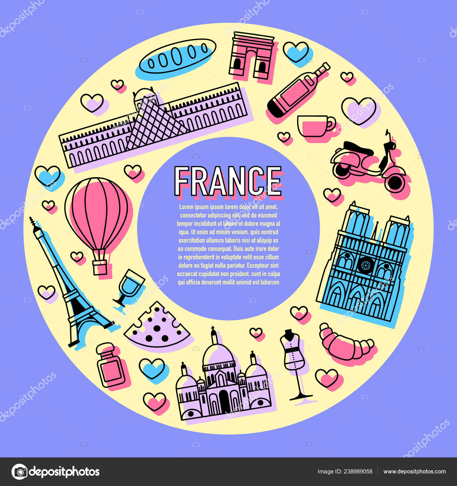 Map Of France Cartoon.France Cartoon Travel Vector Map French Symbols Other Decorative