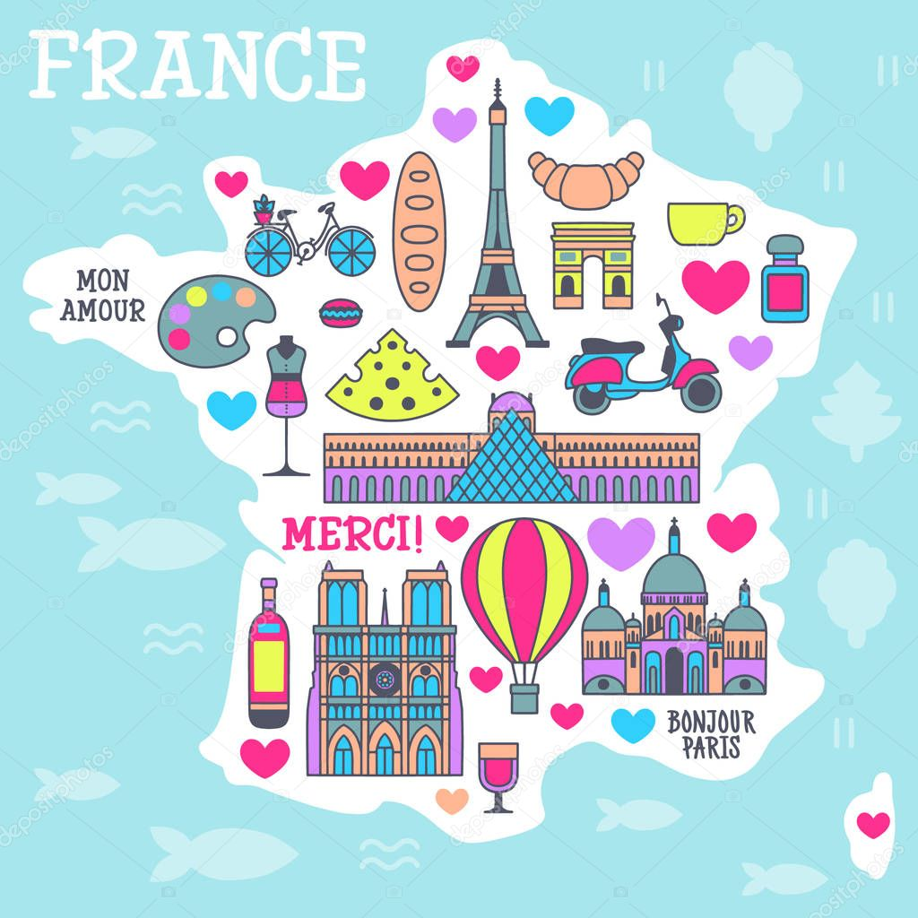 France Cartoon Travel Vector Map French Symbols And Other Decorative Poster Flat Style For Design Tourism Premium Vector In Adobe Illustrator Ai Ai Format Encapsulated Postscript Eps Eps Format