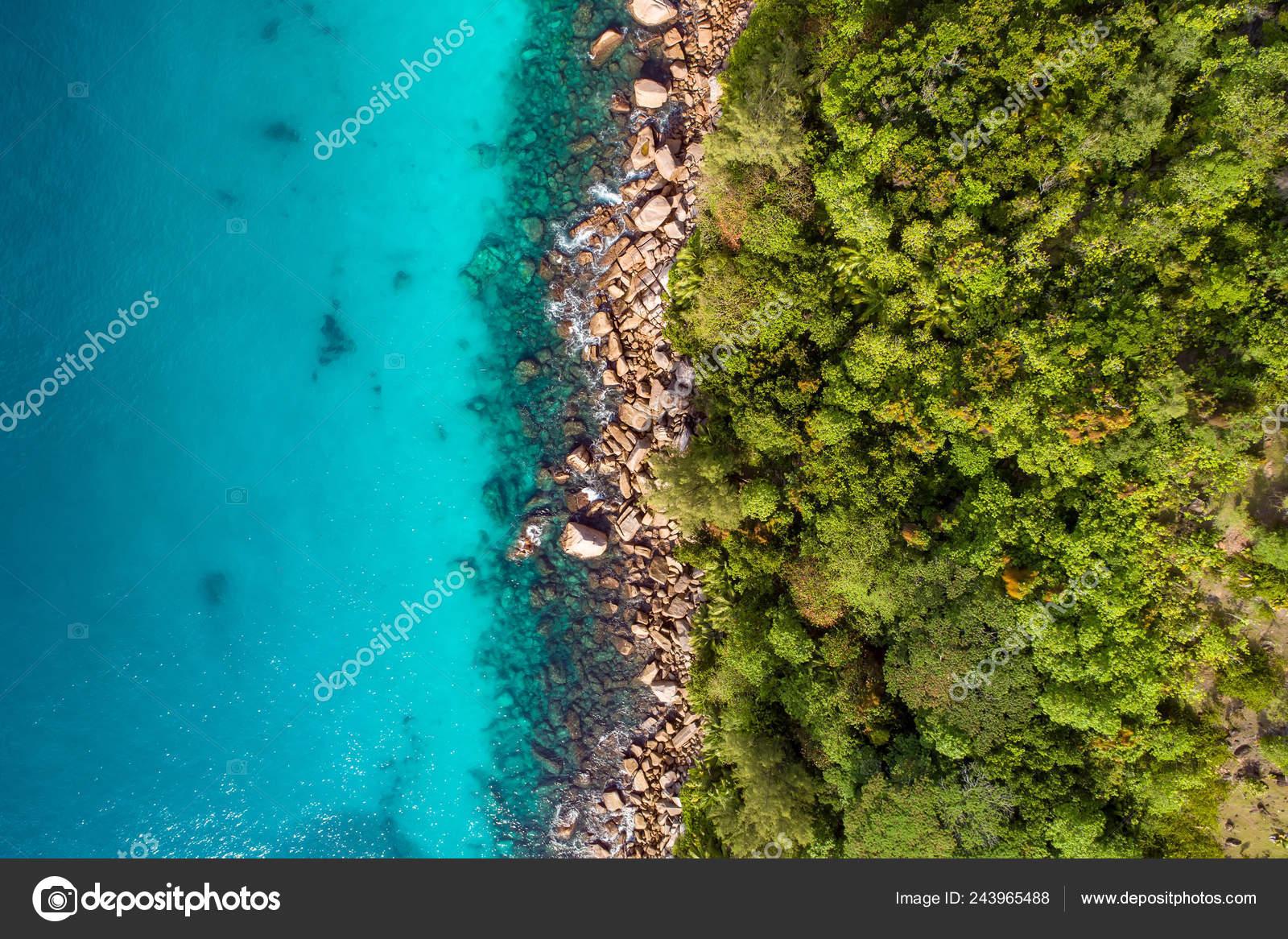 Aerial View Beautiful Island Seychelles Indian Ocean Top