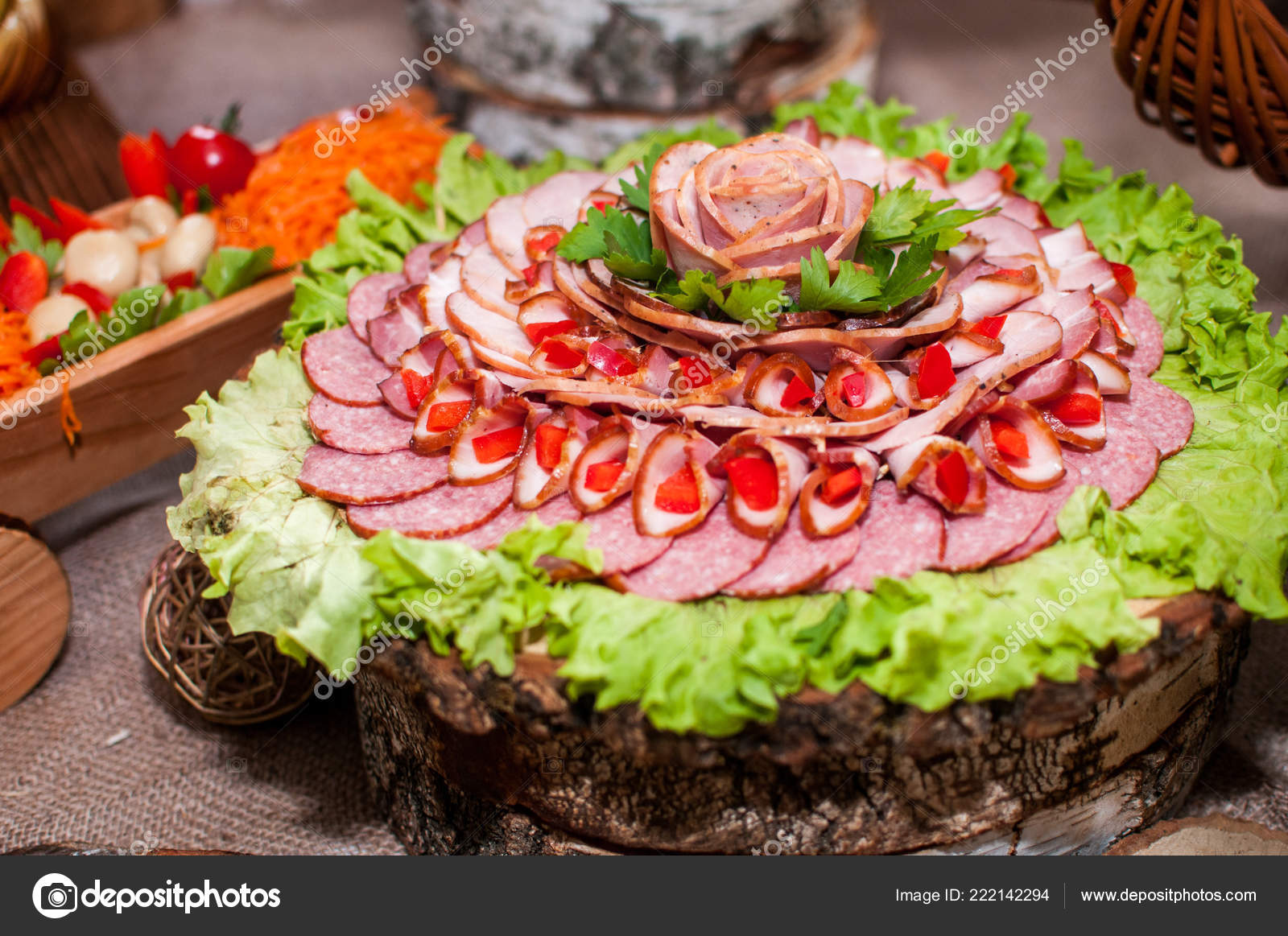 Sausages Salad Decoration Wooden Table Stock Photo C Galka3250