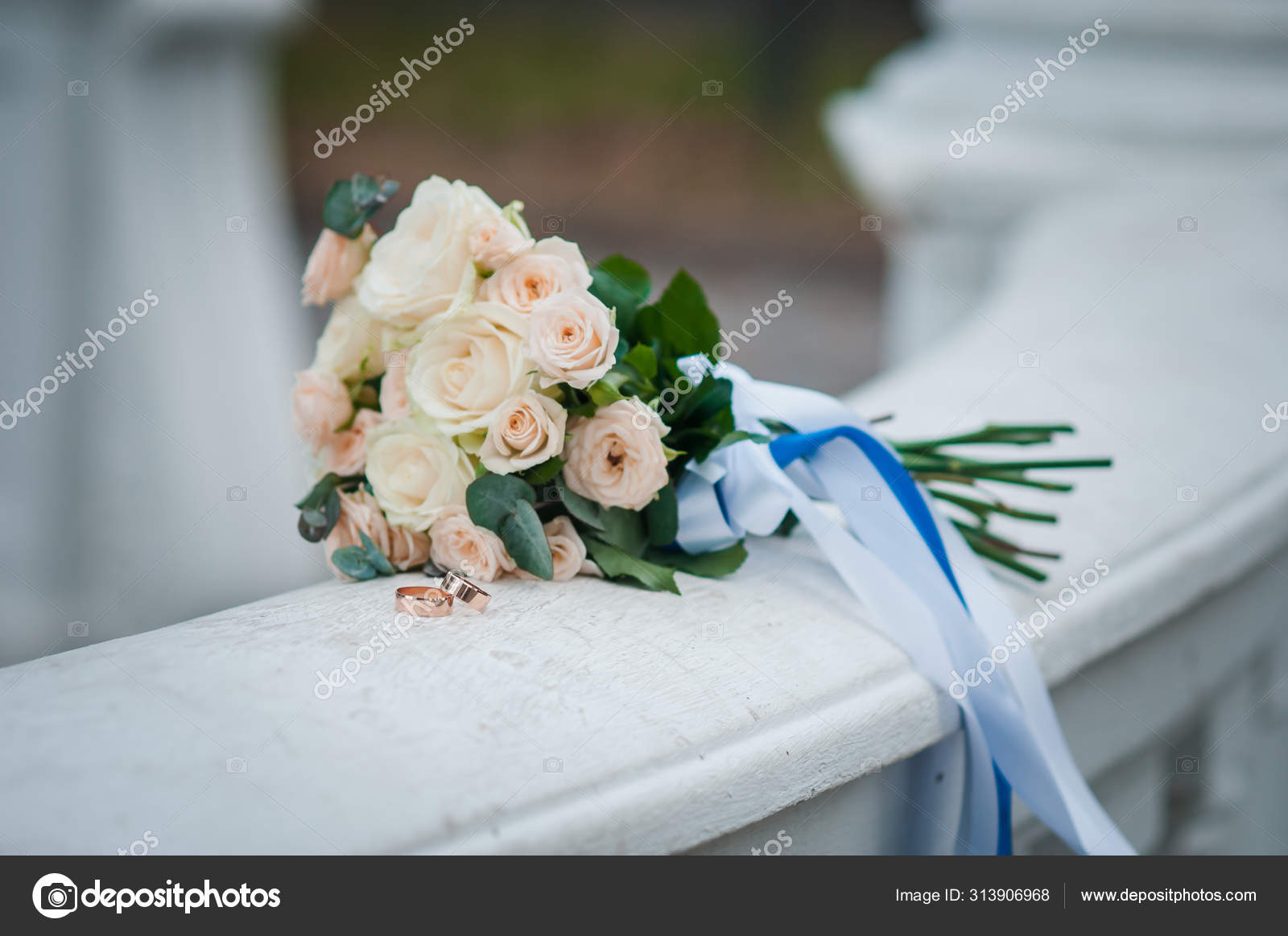 Bouquet Of Roses With Golden Wedding Rings Stock Photo C Galka3250 313906968