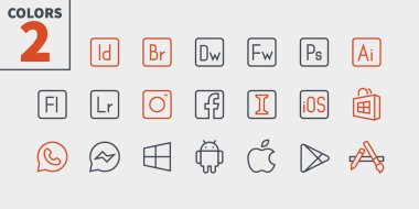 Logos UI Pixel Perfect Well-crafted Vector Thin Line Icons. stock vector