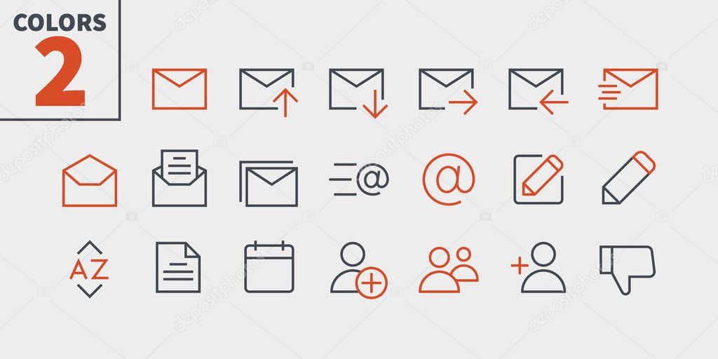 Email UI Pixel Perfect Well-crafted Vector Thin Line Icons