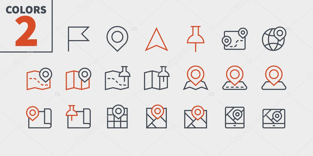 Maps UI Pixel Perfect Well-crafted Vector Thin Line Icons