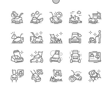 Lawn mower Well-crafted Pixel Perfect Vector Thin Line Icons 30 2x Grid for Web Graphics and Apps
