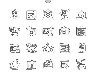 Dark side of web Well-crafted Pixel Perfect Vector Thin Line Icons 30 2x Grid for Web Graphics and Apps.
