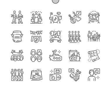 World Beatles Day Well-crafted Pixel Perfect Vector Thin Line Icons 30 2x Grid for Web Graphics and Apps