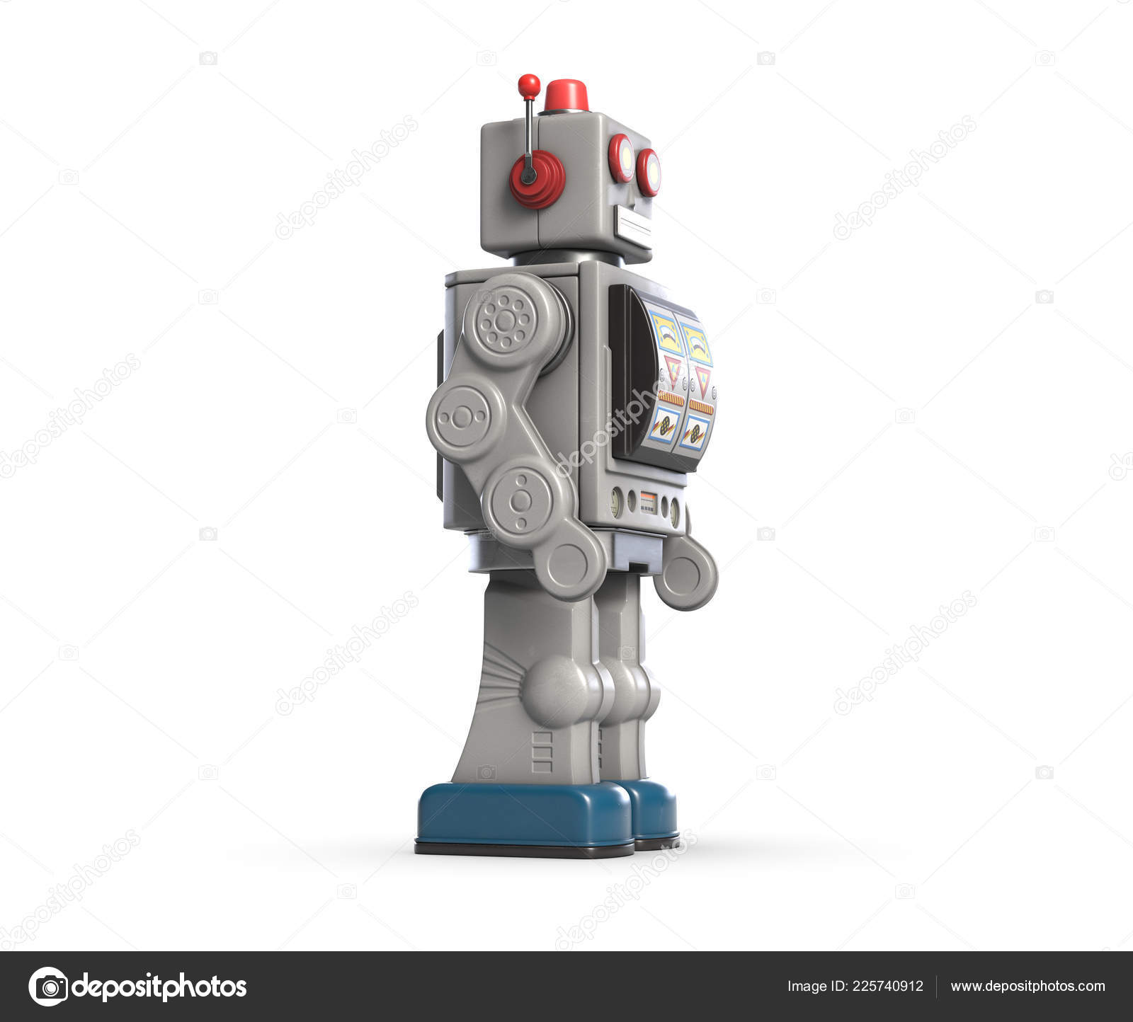 3d illustration of vintage robot toy isolated on white