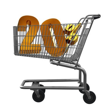 3D illustration of Shopping cart with 20 pocent discount in gold isolated
