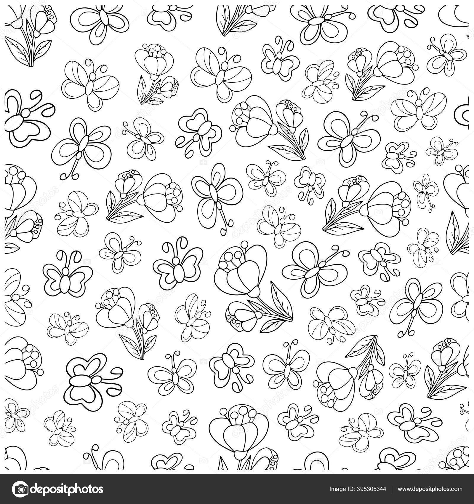 depositphotos 395305344 stock illustration seamless pattern butterflies flowers cute