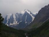 dechberoucí pohled ledovec Altaje, Rusko