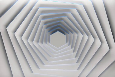 Rotation of pure white hexagons with blue edges. 3d illustration.