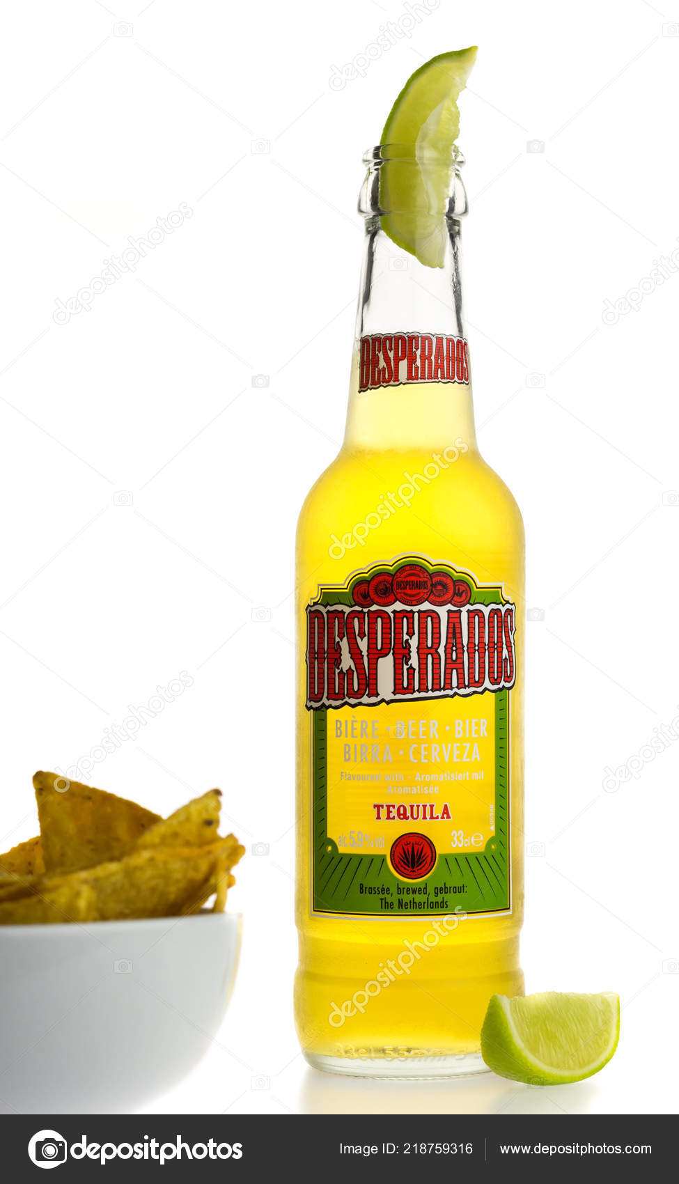 Bottle Mexican Desperados Tequila Beer Lime Wedge Nachos Isolated White Stock Editorial Photo C Venemama2 218759316