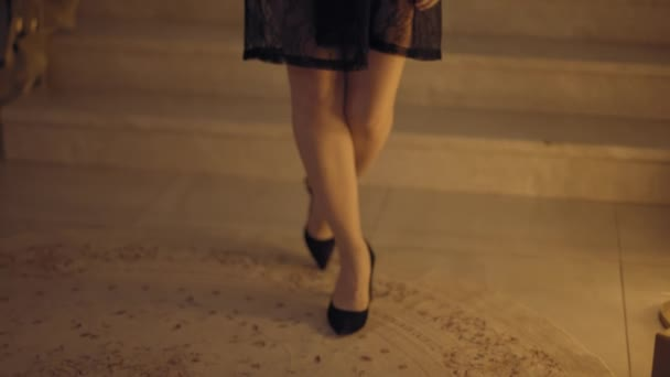 Close up tracking shot of womans legs going on camera, flat prores422 hq