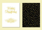 Fotografie Set of greeting cards with golden snowflakes on black and white backgrounds