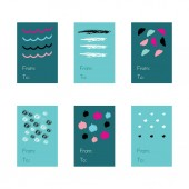 Holidays set of brush textures and tags with illustrations of cute decoration elements. Vector colored symbols.