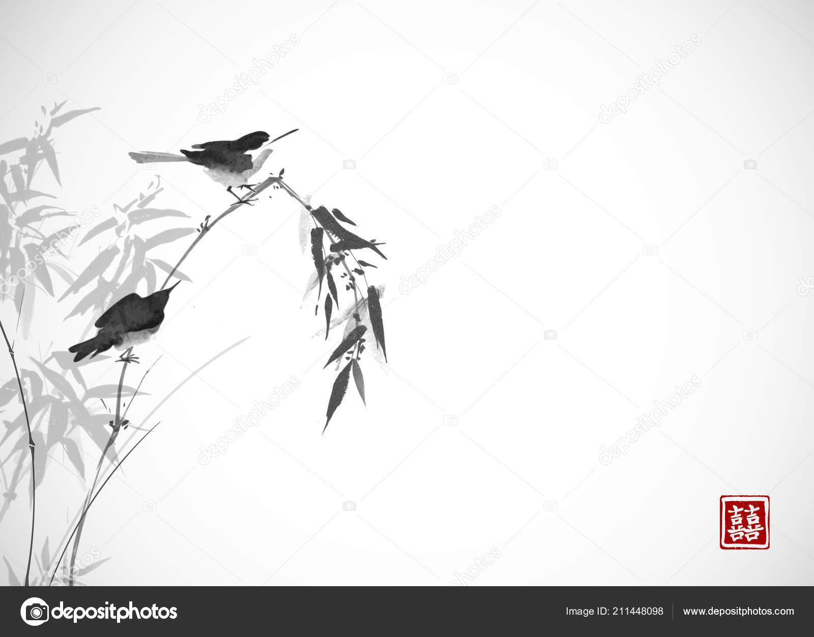 Ağaç Dalı üzerinde Iki Kuş Geleneksel Oryantal Mürekkep Boyama Sumi