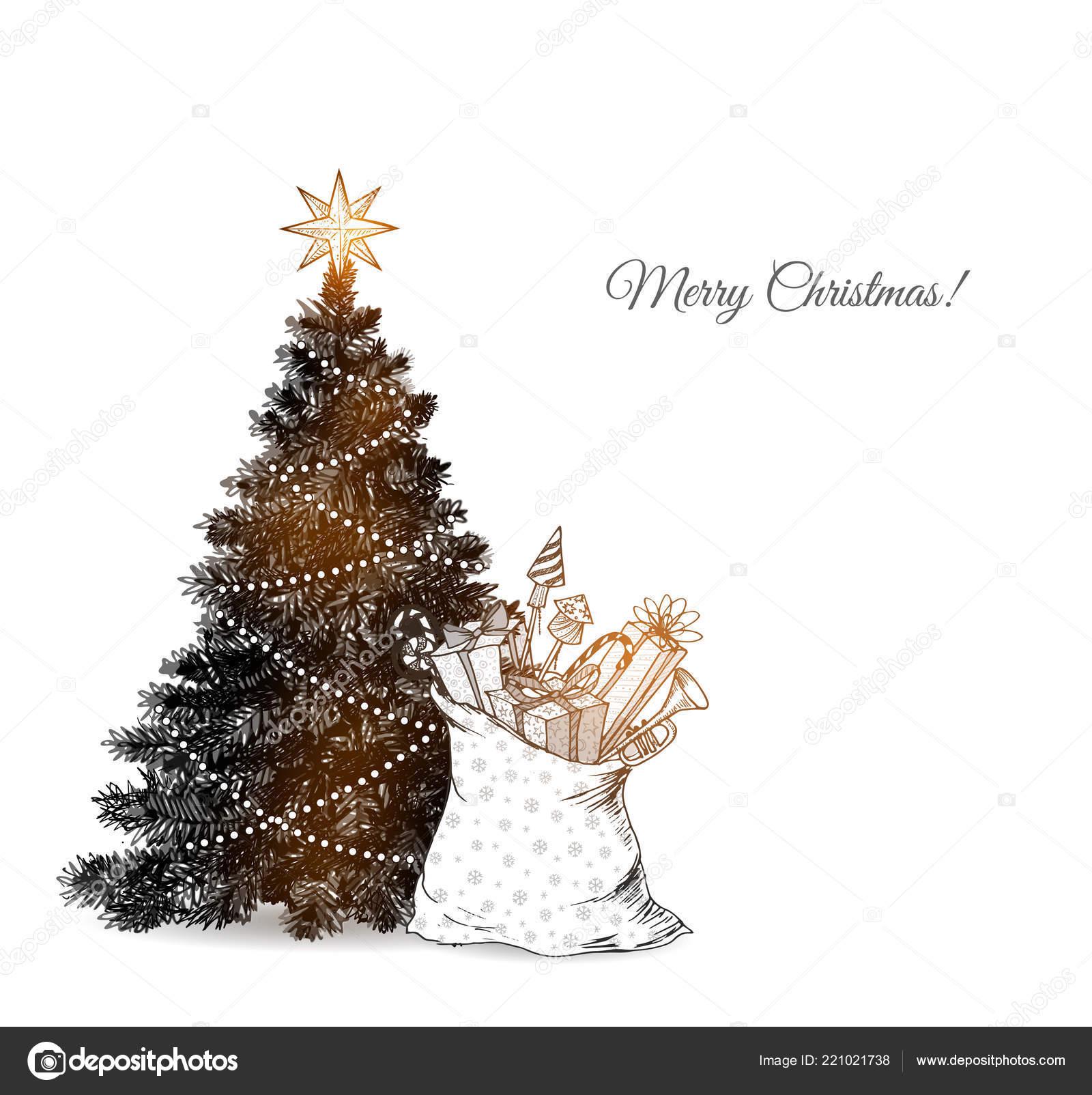 Christmas Tree Santa Sack Full Gifts Christmas Card White