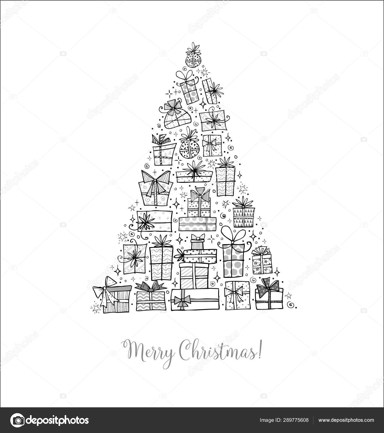 Hand Drawn Christmas Tree Minimalist Christmas Card White Background Vector Image By C Elinacious Vector Stock 289775608