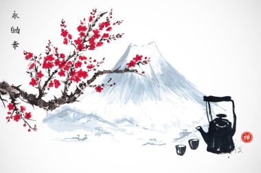 Vintage tea pot with cups on background with flowers and mountain in traditional Japanese ink painting