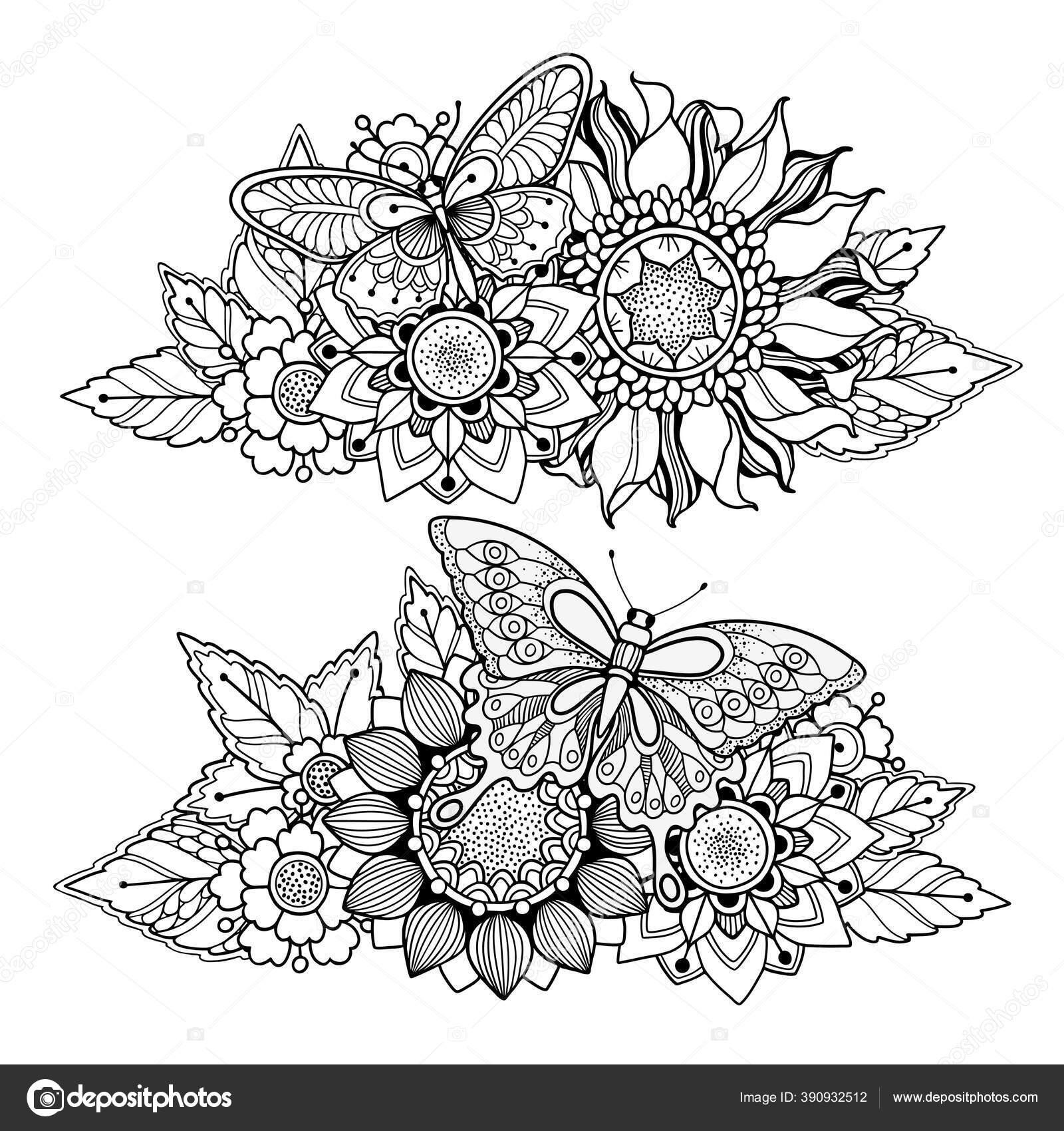Set Dari Komposisi Bunga Ajaib Dalam Gaya Corat Coret Stok Vektor C Mistery 390932512