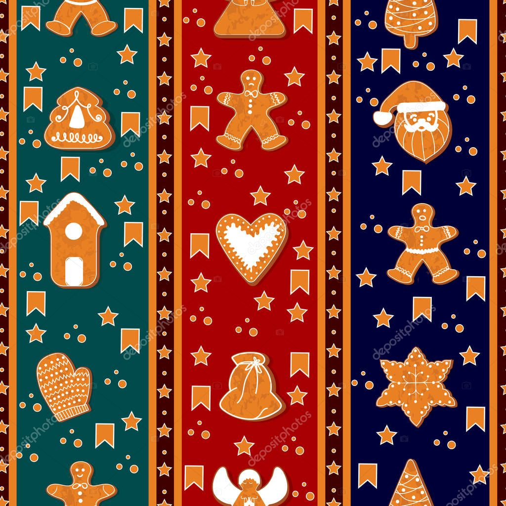 merry christmas seamless vertical border pattern gingerbreads happy winter holidays poster new year