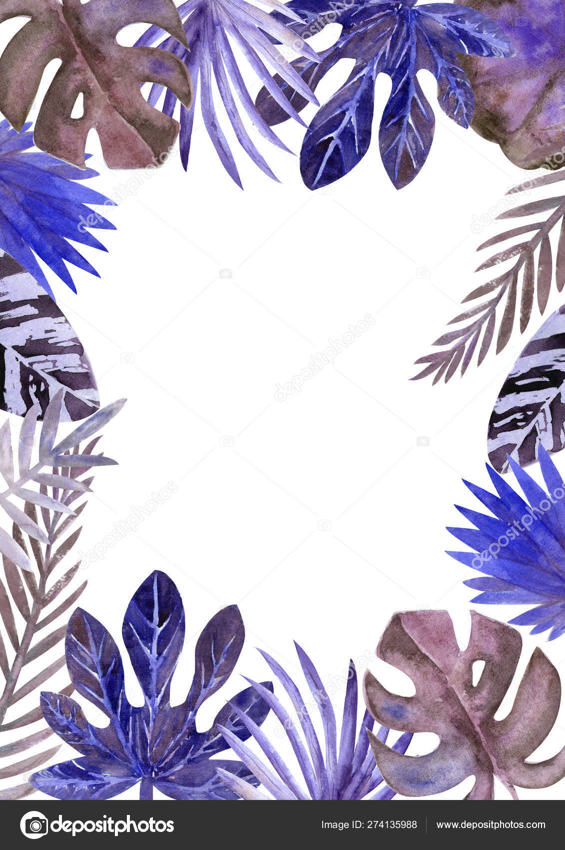 Watercolor Frame Of Colorful Tropical Leaves For Invitations Greeting Cards And Wallpapers Blue Tone Stock Photo C Natika26042002 Gmail Com 274135988 All over banana palm leaves with teal and blue undertones. watercolor frame of colorful tropical leaves for invitations greeting cards and wallpapers blue tone stock photo c natika26042002 gmail com 274135988