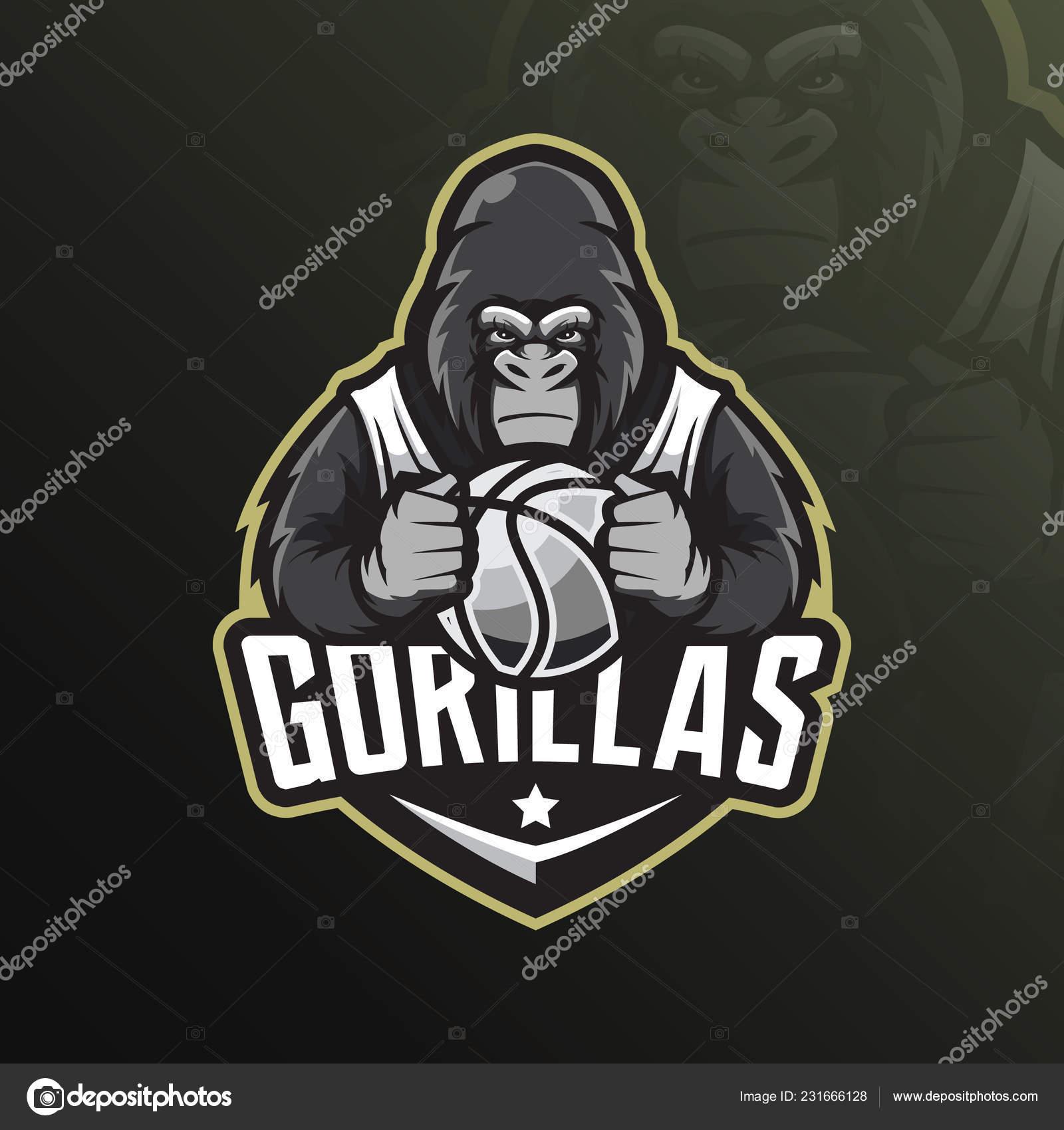 Vector de diseño de logotipo gorila mascota con estilo de concepto moderno  de la ilustración para camiseta impresión e9beafe865443
