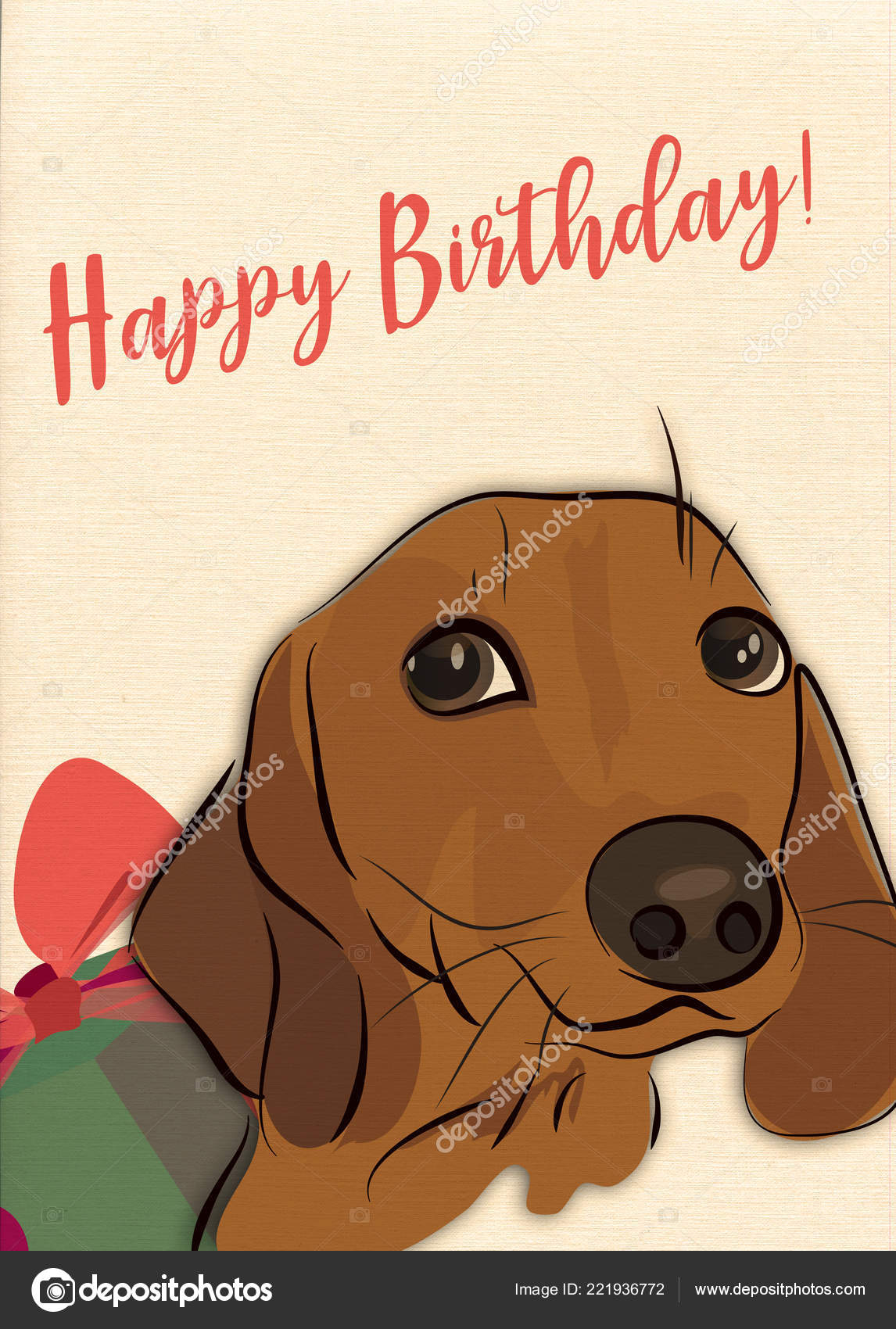 Happy Birthday Greeting Card With Sausage Dog And Present Photo By AleksaD