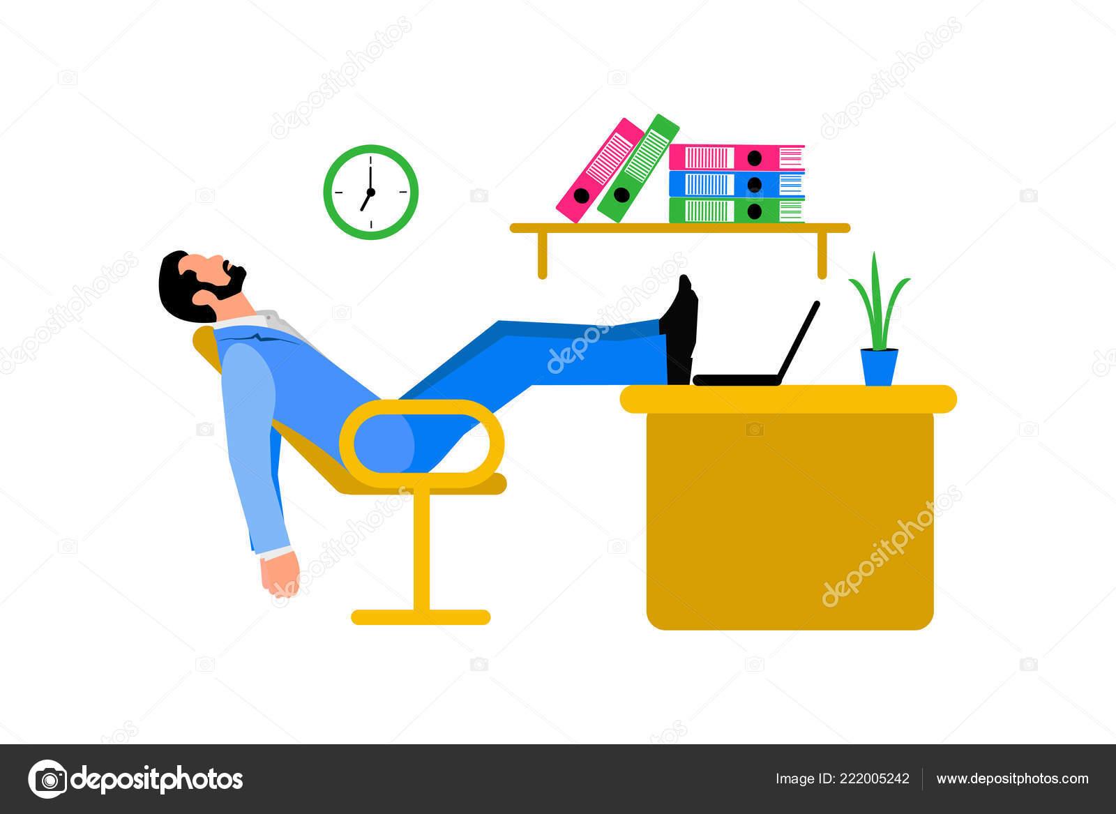 Rotura Ilustración Dormir Hombre Relajante Silla Oficina Con Patas ...
