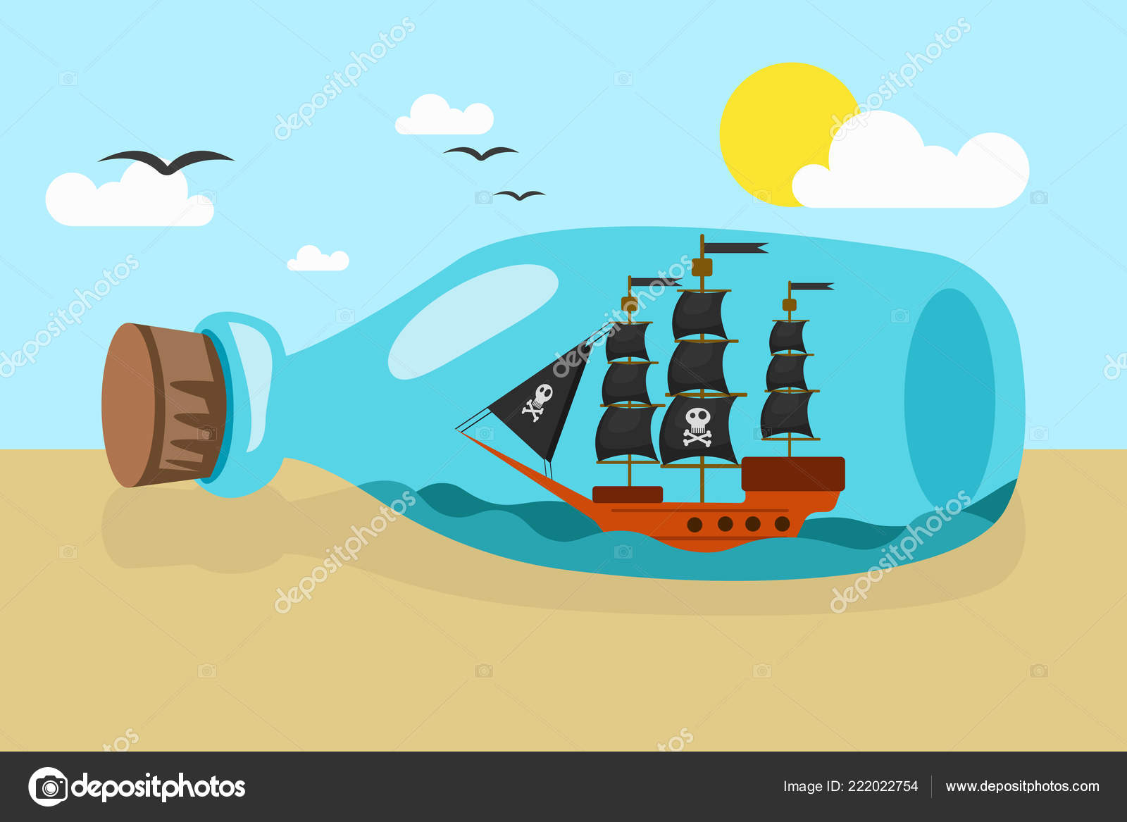 Vector Picture Glass Bottle Sailing Pirate Shop Lying Sandy Beach