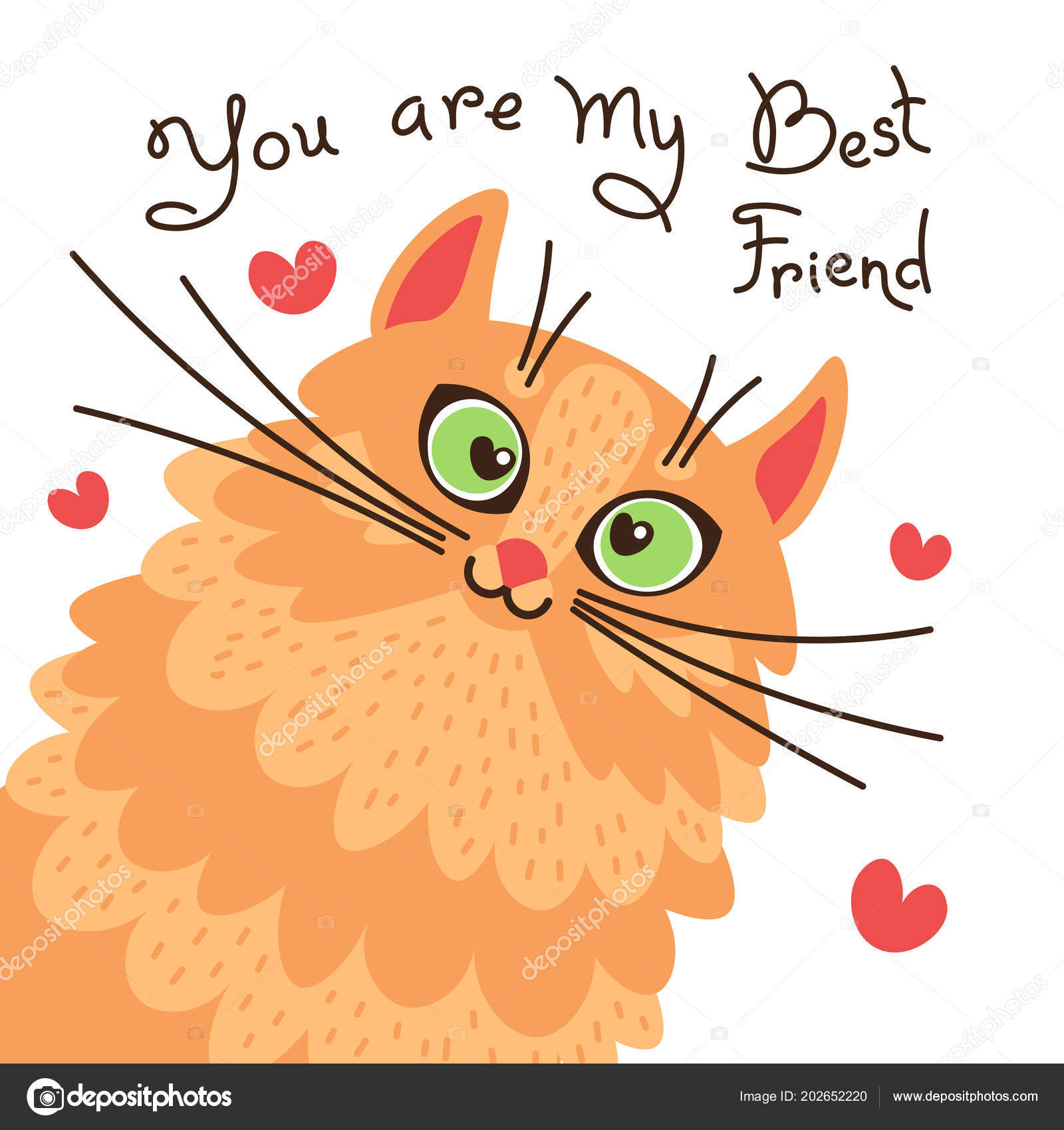 Red Cat You Are My Best Friend Card With Sweet Ginger Kitten