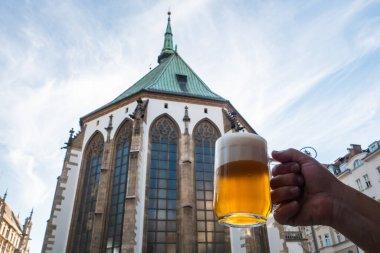 Tasty Pint of Light, Golden Pilsner Lager Beer called Svetly Lezak Pivo in Czech on Saint James Square in Brno