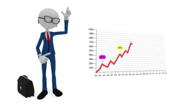 3D znak podnikatel body na grafu růstu zisku