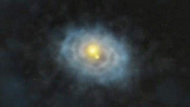animace, letí spirální galaxie, země a měsíc