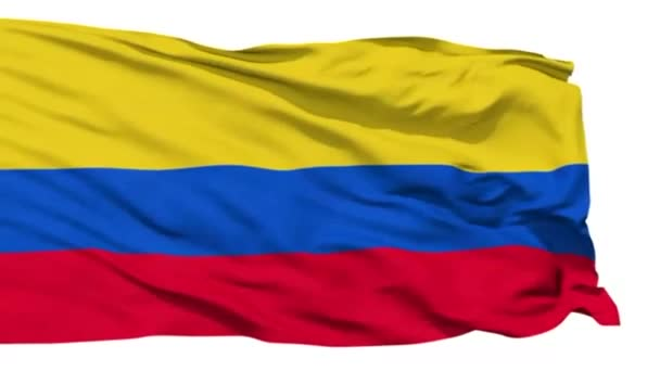 Animation of the full fluttering national flag of Colombia isolated on white