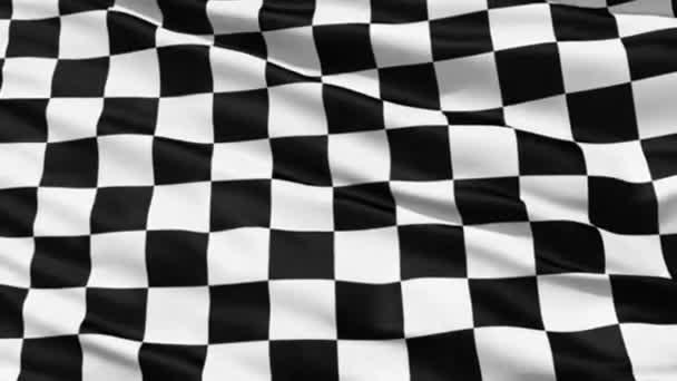 flatternde schwarz-weiß karierte oder karierte Flagge, die bei Renn- und Motorsportveranstaltungen verwendet wird.