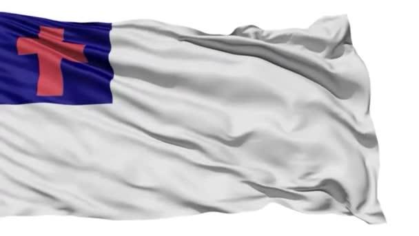 Flying white Christian Flag with cross of Christ.