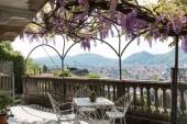 Fantastický veranda barevné wistárie se vztahuje na krásný jarní den