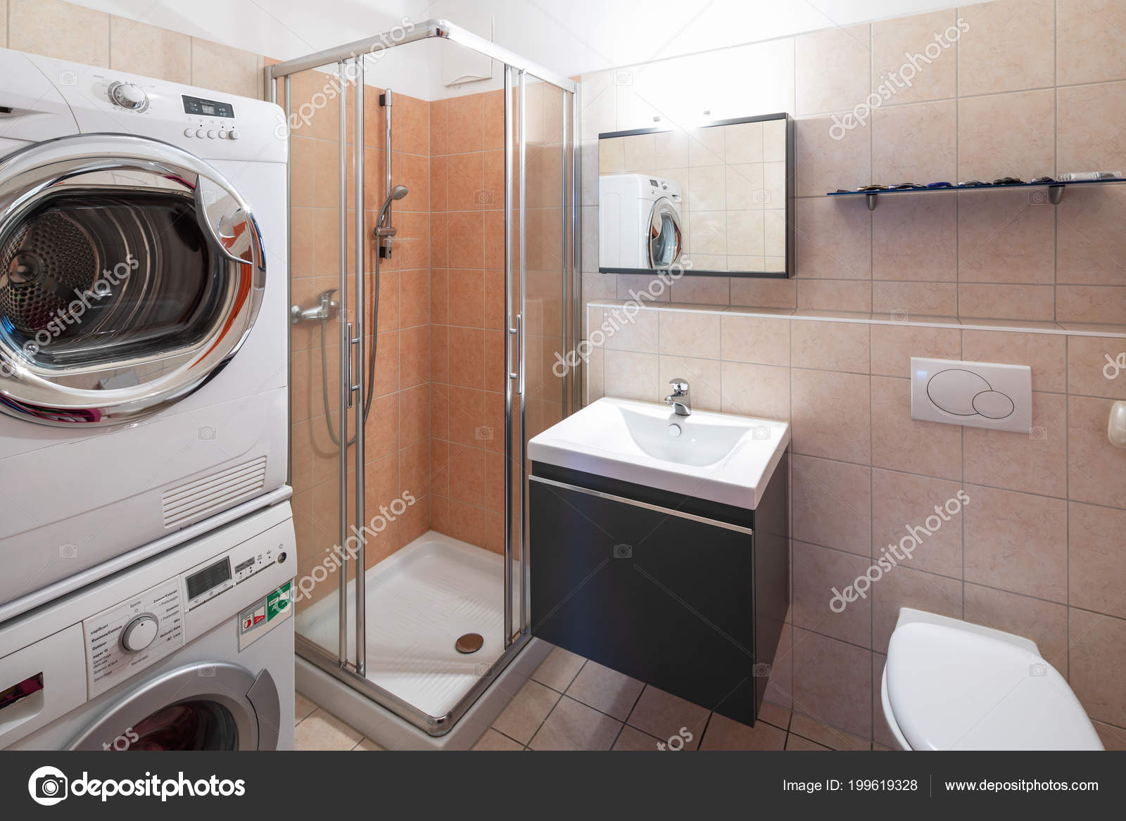 Salle De Bain Avec Machine À Laver Et Seche Linge modern bathroom tile shower washing machine dryer nobody