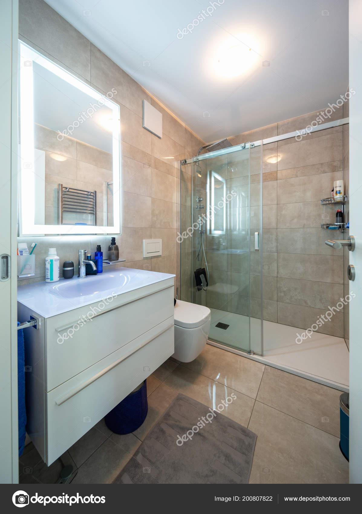 Moderno Cuarto Baño Apartamento Diseño Mármol Nadie Dentro ...