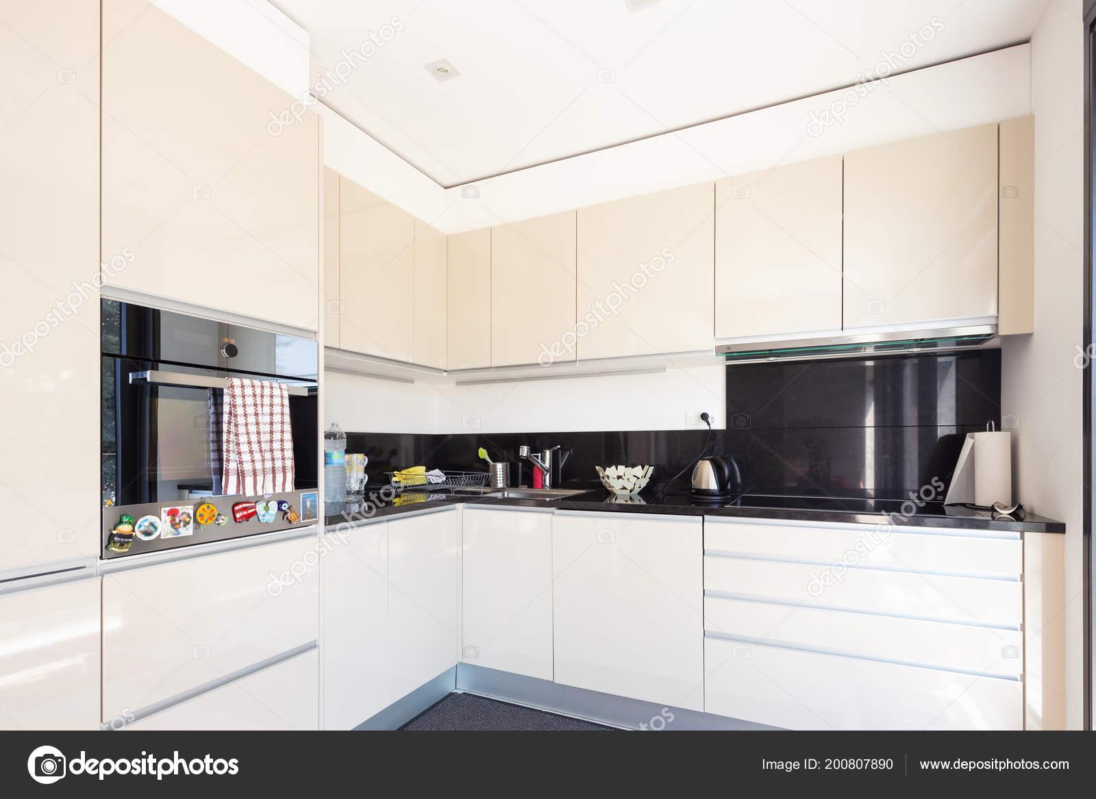 Creme Colorida Cozinha Apartamento Moderno Ninguém Insid
