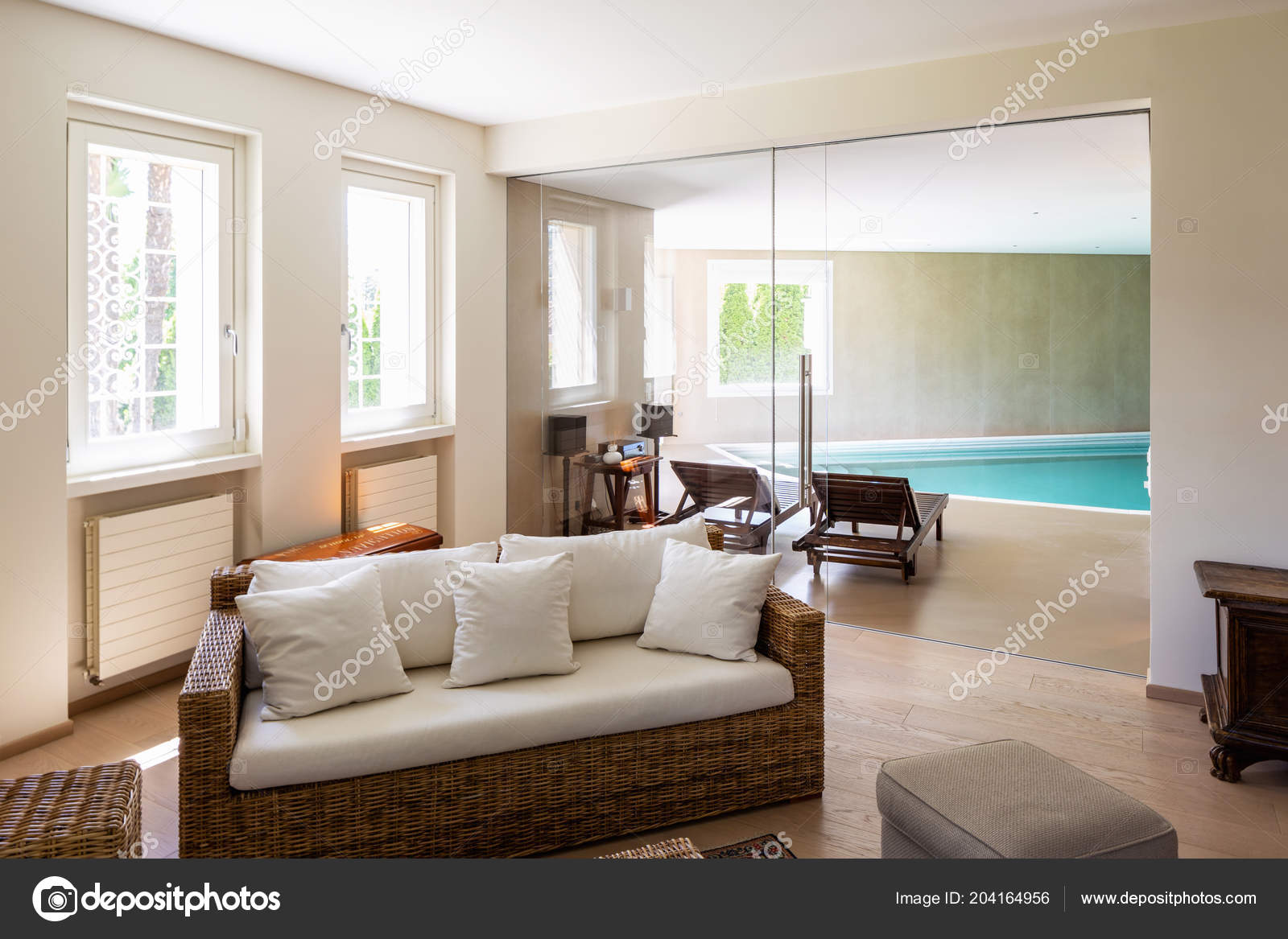 Modern living room wicker furniture design villa nobody stock photo