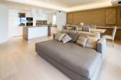 Fényképek Tágas nappali parkettás és elegáns kanapé modern apartman. Senki sem belül