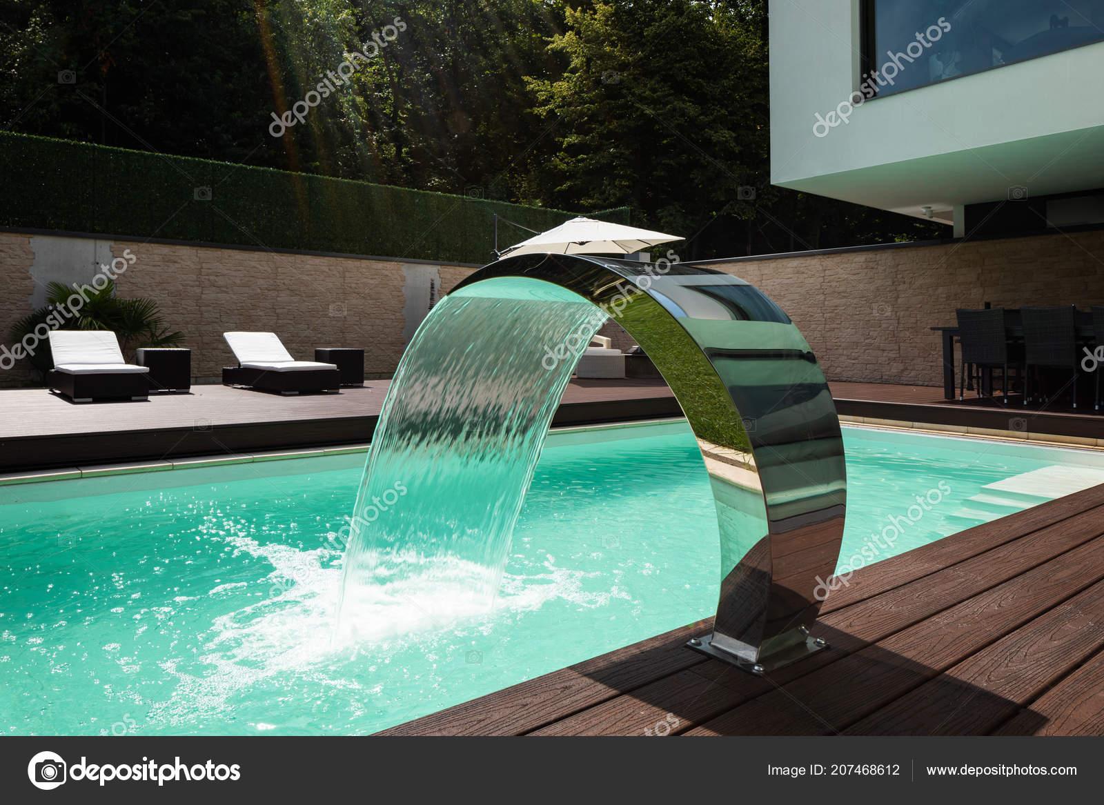 Detail Swimming Pool Fountain Modern Villa Nobody — Stock ...