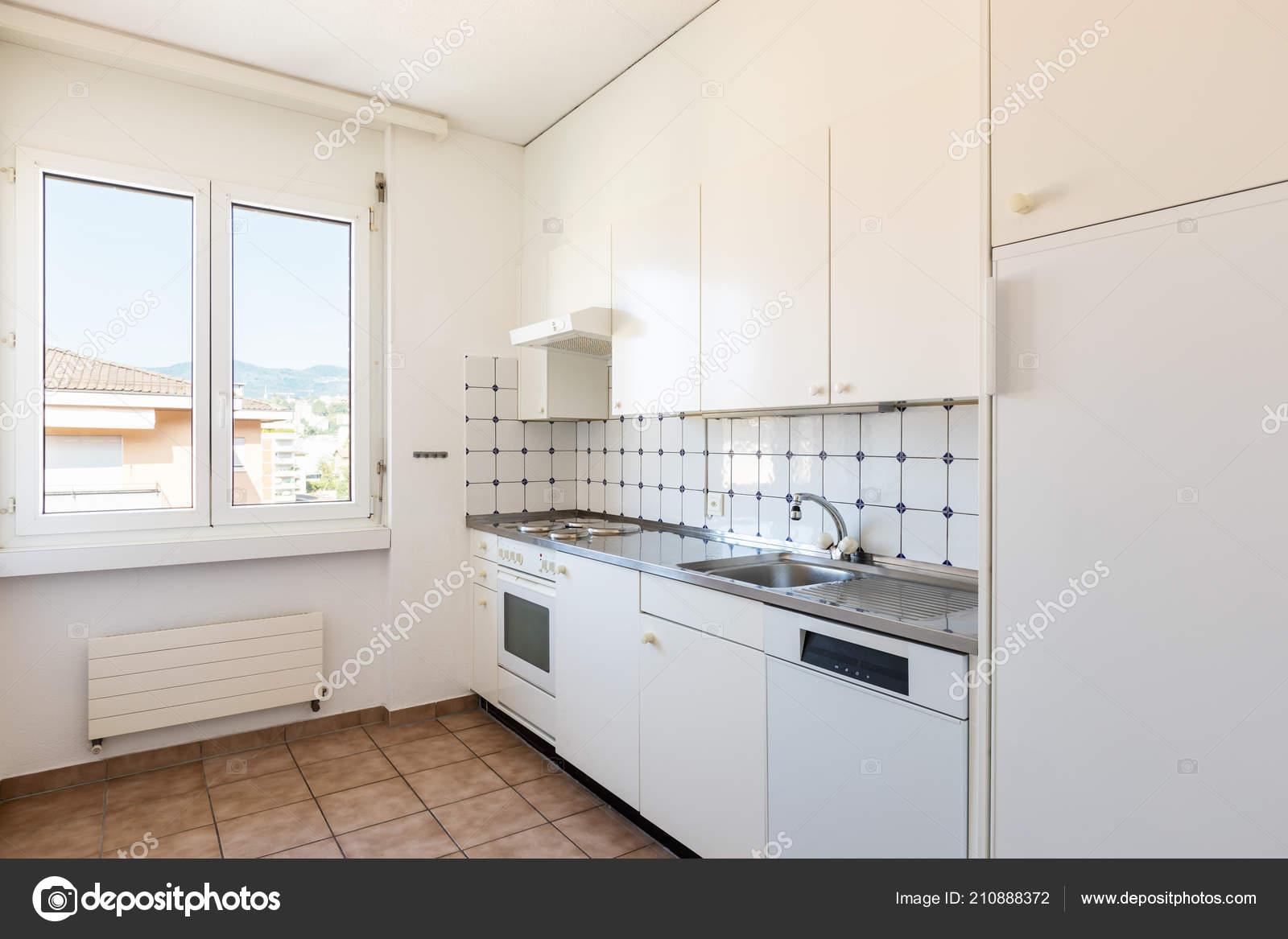 Küche Mit Weißen Und Fliese Vintage Möbel Niemand Inneren U2014 Stockfoto