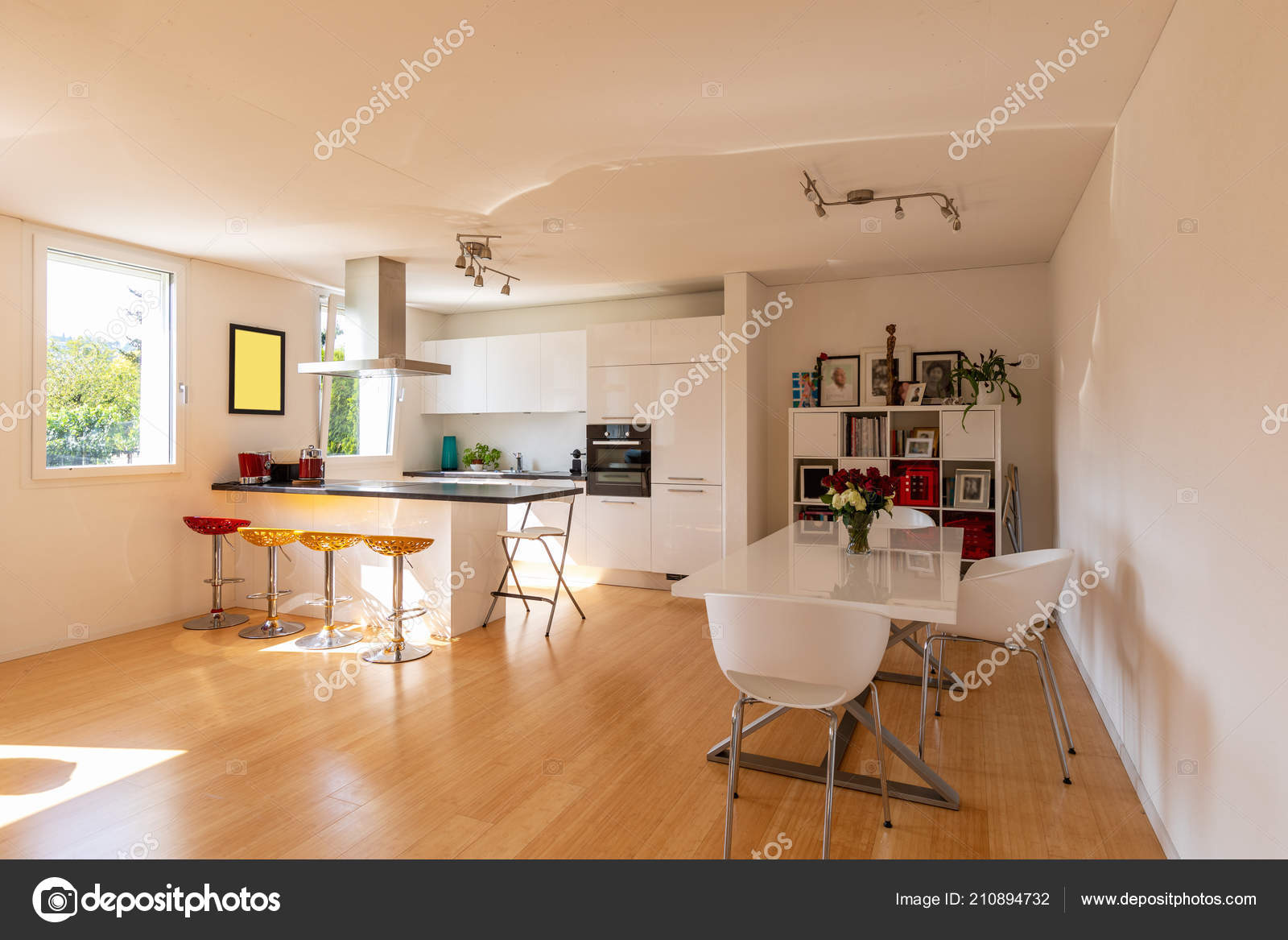 Cocina Apartamento Moderno Con Sala Comedor Diseño Nadie Dentro ...